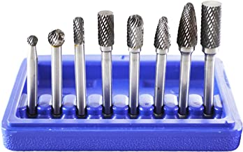"""Astro Pneumatic Tool 2181 8-Piece Double Cut Carbide Rotary Burr Set 1/4"""" Shank in Blow Molded Case"""
