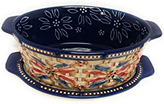 Temp-tations Basketweave 1.5 Qt Oval Baker w/Tab Handles and Lid-It (Tray) and Plastic Cover (Old World Fireworkfetti)