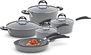 Bialetti 10 Piece Nonstick Granito Cookware Set, Oven Safe, Gray (Renewed)