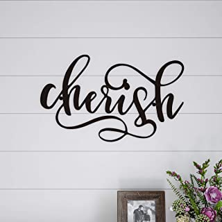Lavish Home Metal Cutout-Cherish Wall Sign-3D Word Art Home Accent Decor-Perfect for Modern Rustic or Vintage Farmhouse Style