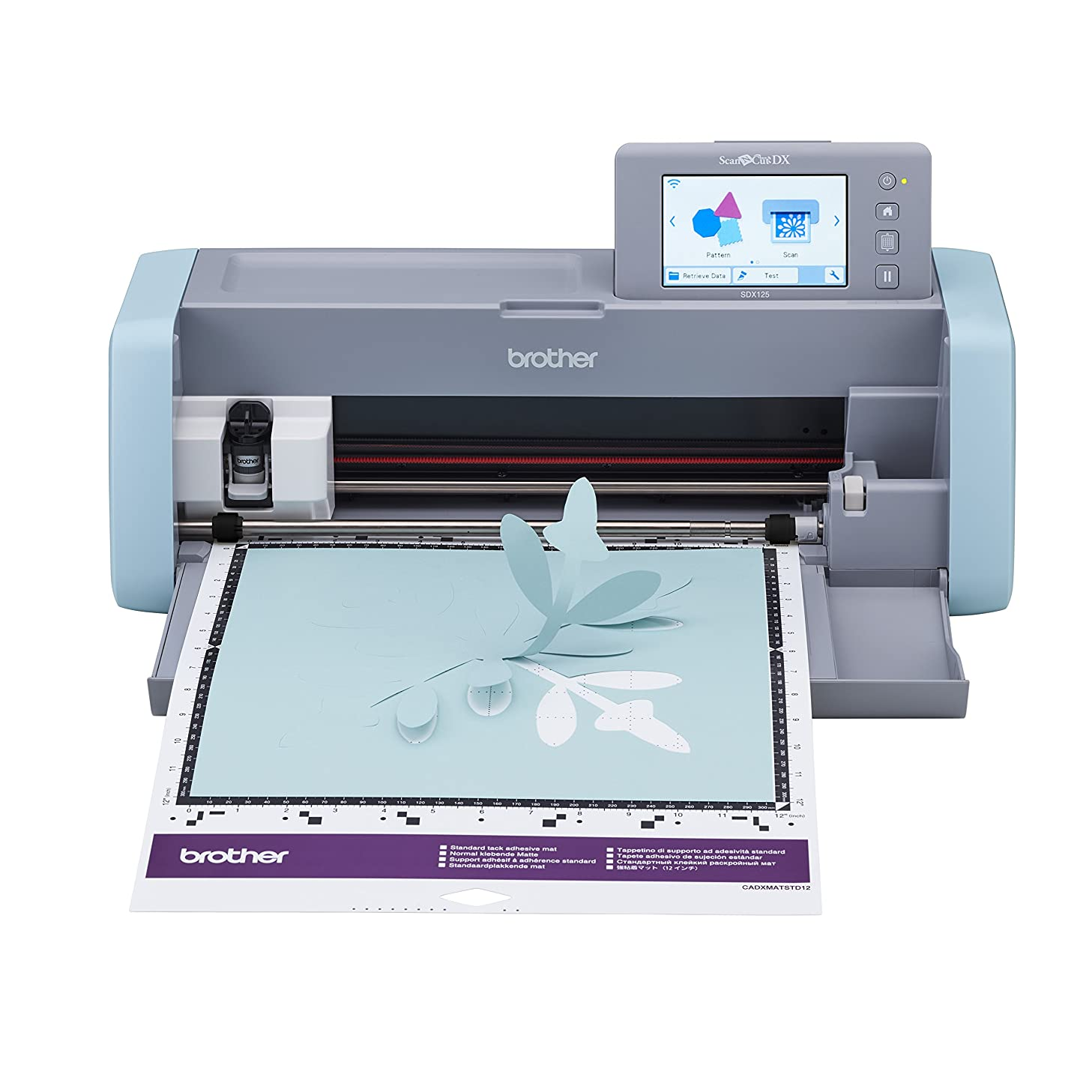 """Brother ScanNCut DX, SDX125, 5"""" LCD Touch Screen, Wireless Network Ready, 600 DPI Scanner, 682 Built-in Designs Home Electronic Cutting Machine, Grey/Aqua"""