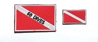 B89 50 الغوص سكوبا الغوص علم الإنقاذ معنويات مطرزة قطعتين 3X2 بوصة و 1.5x1 بوصة (خطاف)
