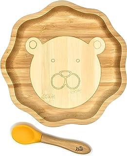 und Kleinkind-F/ütterungsplatte mit starkem Saugring aus nat/ürlichem Bambus ~ Baby Hase Saugnapfplatte Rosa
