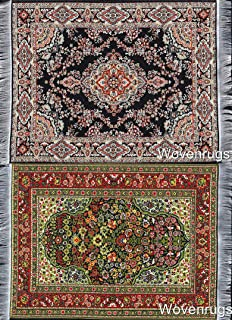 Set of 2 Dollhouse Carpets | Woven Miniature Dolls House Rugs | 10x7 | Toy Furniture | 1