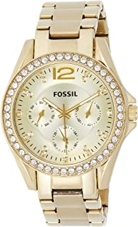 Fossil Women's Quartz Watch, Analog Display and Stainless Steel Strap ES3203 - Gold