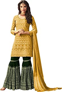 Delisa Indian/Pakistani Bollywood Party Wear Sharara Style Long Anarkali Gown for Womens Ghoomar