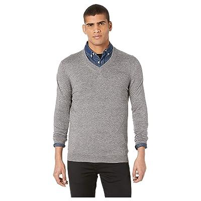 Ted Baker Noel Long Sleeve Cashmere Blend V-Neck Sweater (Grey) Men