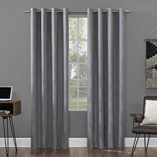 """Sun Zero Brody Geometric Ogee Thermal Extreme 100% Blackout Grommet Curtain Panel, 52"""" x 63"""", Silver Gray"""