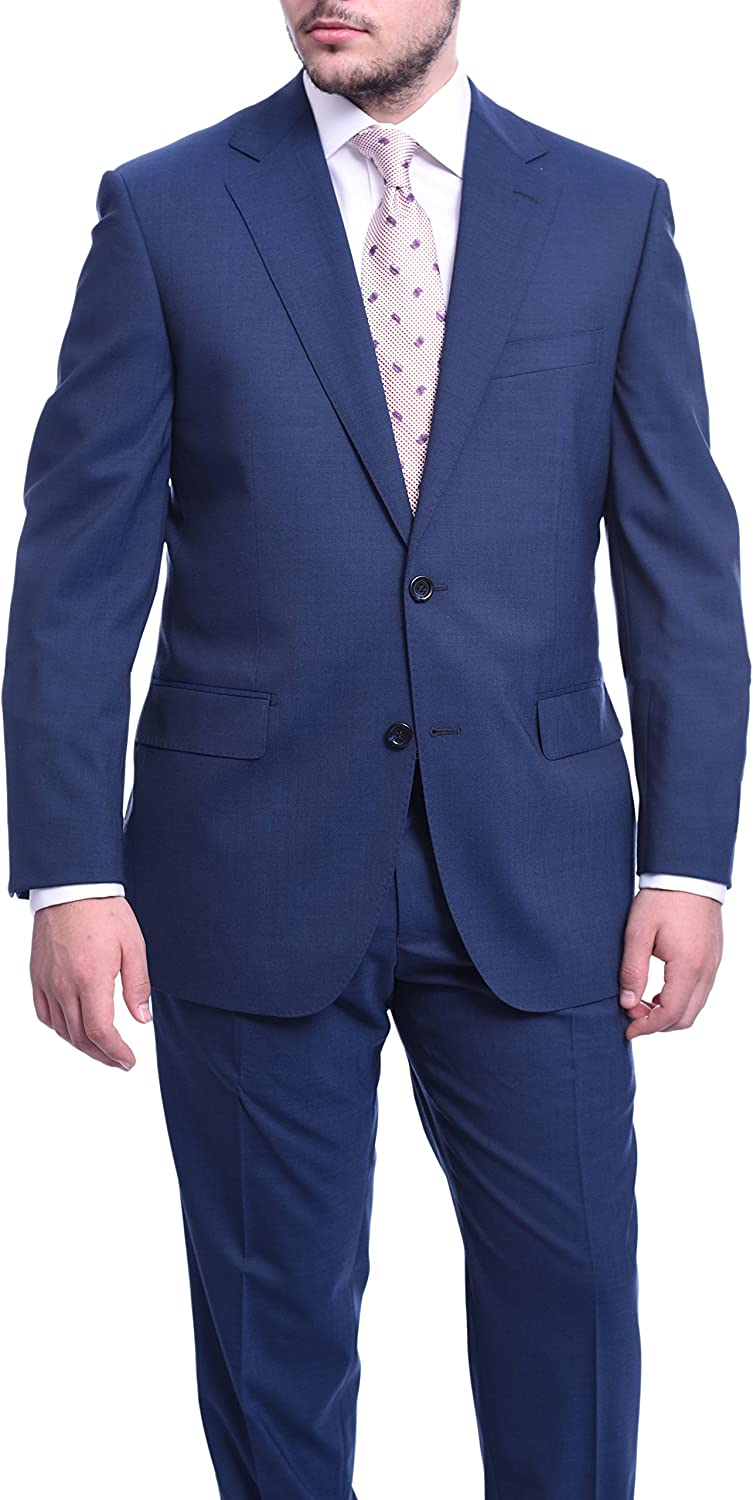 Napoli Classic Fit Solid Blue Two Button Half Canvassed Wool Suit
