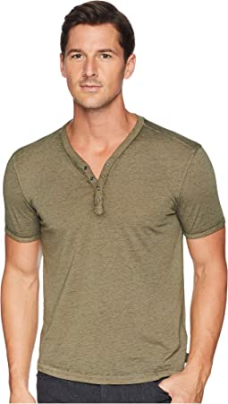 Short Sleeve Burnout Snap Henley