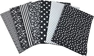 Quilting Fabric, Misscrafts 7pcs 50 x 50cm Cotton Blending Textile Craft Fabric Bundle Fat Quarter Patchwork Pre-Cut Quilt Squares for DIY Sewing Scrapbooking Dot Floral Pattern (Black)