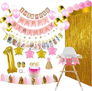 pink and gold first birthday decorations