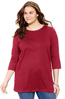 Woman Within Women's Plus Size Perfect Scoop Neck Three-Quarter Sleeve Tunic