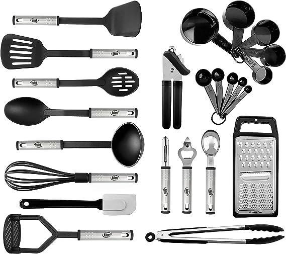Kitchen Utensil Set 24 Nylon and Stainless Steel Utensil Set