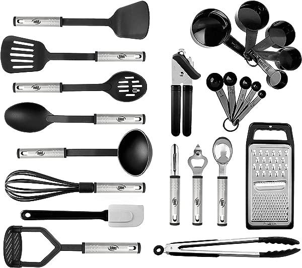 厨具套装 24 个尼龙不锈钢烹饪用品不粘耐热炊具套装新款厨师厨房小工具收藏最适合锅碗瓢盆的节日礼物