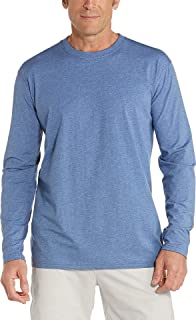 Coolibar UPF 50+ Men's Morada Everyday Long Sleeve T-Shirt - Sun Protective (Large- Pacific Blue Heather)