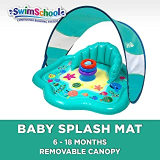 Swimschool Baby Splash Mat with Removable Canopy & Backrest, Extra-Wide Inflatable Mat with Three Toys, 6 to 24 Months, Aqua