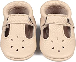 LittleBeeMocs T-Strap Baby Moccasins (Italian Leather) Soft Sole Shoes for Boys and Girls | Infants, Babies, Toddlers | Cute, Lightweight, Breathablee