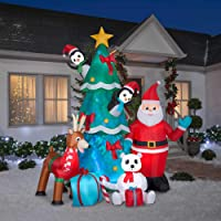 Gemmy 9.5' Airblown Inflatable Animated Santa and Friends with Kaleidoscope Lighting Indoor/Outdoor Holiday Decoration