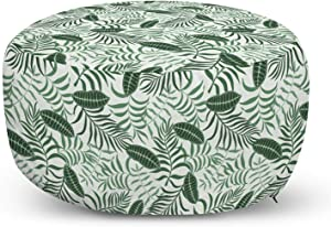Ambesonne Tropical Ottoman Pouf, Jungle Banana Palm Leaves and Exotic Foliage Plants Rainforest Flora, Decorative Soft Foot Rest with Removable Cover Living Room and Bedroom, Hunter Green and White