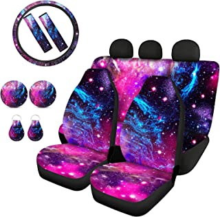 Biyejit Galaxy Stars Car Seat Covers and Steering Wheel Cover Full Set with Seat Belt Cover+Keychains+Automotive Cup Holde...