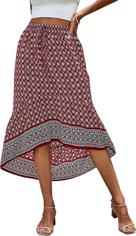 Milumia Women's Boho Geometric Print High Low Hem Tie Front A Line Midi Skirt