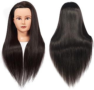 """آموزش سر 26 """"-28"""" مننکین سر مو دندانه دار کردن Manikin Cosmetology مدل عروسک سر مصنوعی فیبر Hairdressing مدل آموزش رایگان Clamp (1711LB0220)"""