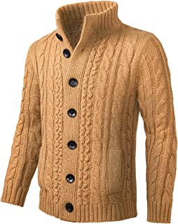 BOTVELA Mens Casual Cardigan Sweater Cable Knitted Button Down Stand Collar Knitwear