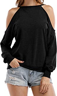 Womens Halter Neck Top Cut Out Shoulder Blouse Sweatshirts