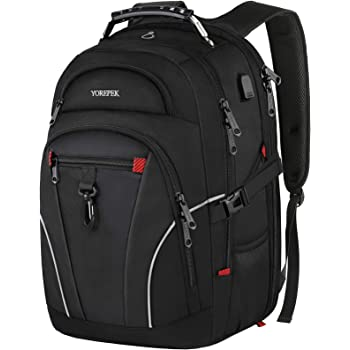 Business Travel Laptop Backpack, Large Anti Theft Bag for Men Women with USB Charging Port, TSA Friendly Water Resistant College School Bookbags Gift for Girls Boys Fit 17 Inch Computer, Black