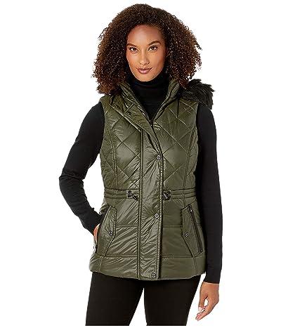 MICHAEL Michael Kors Active Vest with Faux Fur Trim Hood A421030TZ (Olive) Women