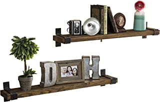 Del Hutson Designs Industrial Grace Floating Shelves (Dark Walnut, 36 Inch)