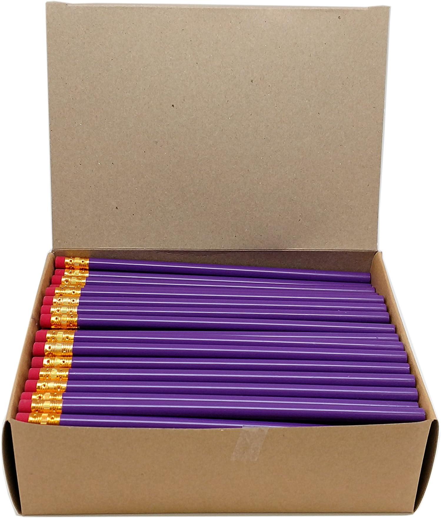 Impex Round Wood #2 HB Pencils (4 Gross, Bulk Lot of 576pcs, Classroom Set) (Purple)
