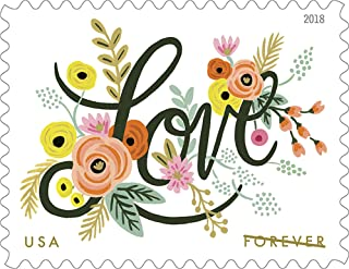 Love Flourishes 5 Sheets of 20 First Class Forever Postage Stamps Wedding Love Valentine 100 Stamps