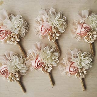 Wedding boutonniere, men buttonhole, groom boutonniere, lapel pin, lapel flower, blush boutonniere