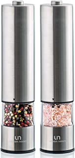 Electric Salt and Pepper Grinder Set – Battery Operated Stainless Steel Mill with..