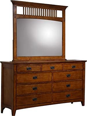 Sunset Trading Tremont Bedroom Dresser Mirror Set, Warm Chestnut