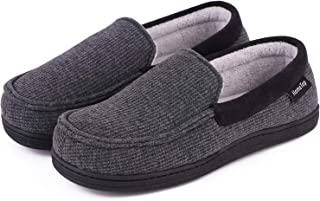Women's Comfy Memory Foam Moccasin Slippers Breathable Cotton Knit Terry Cloth Skid-Resistant House Shoes