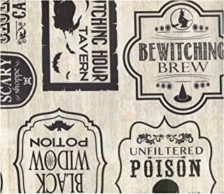 Halloween Vinyl Tablecloth Bottle Labels Print 60 x 84 Inches Black Widow Potion