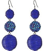 Triple Graduated Blue Ball Fish Hook Ear End Balls Thread Wrap/Center Sparkle Wire Earrings