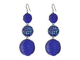 Triple Graduated Blue Ball Fish Hook Ear End Balls Thread Wrap/Center Sparkle Wire Earrings