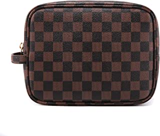 Luxury Checkered Make Up Bag, Travel Cosmetic Wash Bag Unisex Toiletry Bag Vintage PU Vegan Leather Travel Make up Shaving Dopp Kit with Handle (Brown)