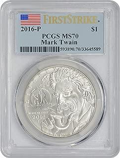 2016-P Mark Twain Commemorative Silver Dollar, MS70, First Strike, PCGS
