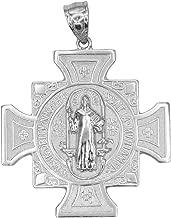 Ice on Fire Jewelry Large 10k Solid Gold Saint Benedict of Nursia Pendant