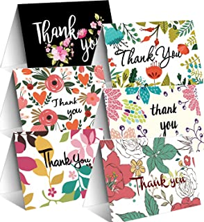 48 Modern Floral Thank You Cards and Envelopes, 6 Assorted Flower Thank You Notes for Wedding, Baby Shower, Bridal Shower, Business, 4 x 6 inch Blank On the Inside Spring Floral Style