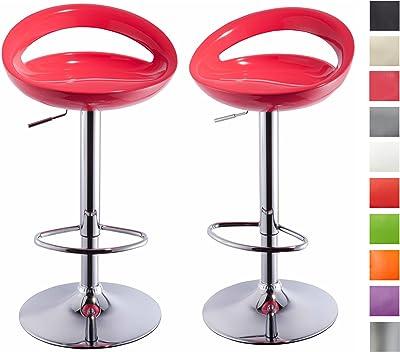 Juego de 2 taburetes de Bar de plástico con Respaldo Ajuste de Altura Elegante diseño seleccion de Color Duhome 147, Color:Blanco, Material:plástico