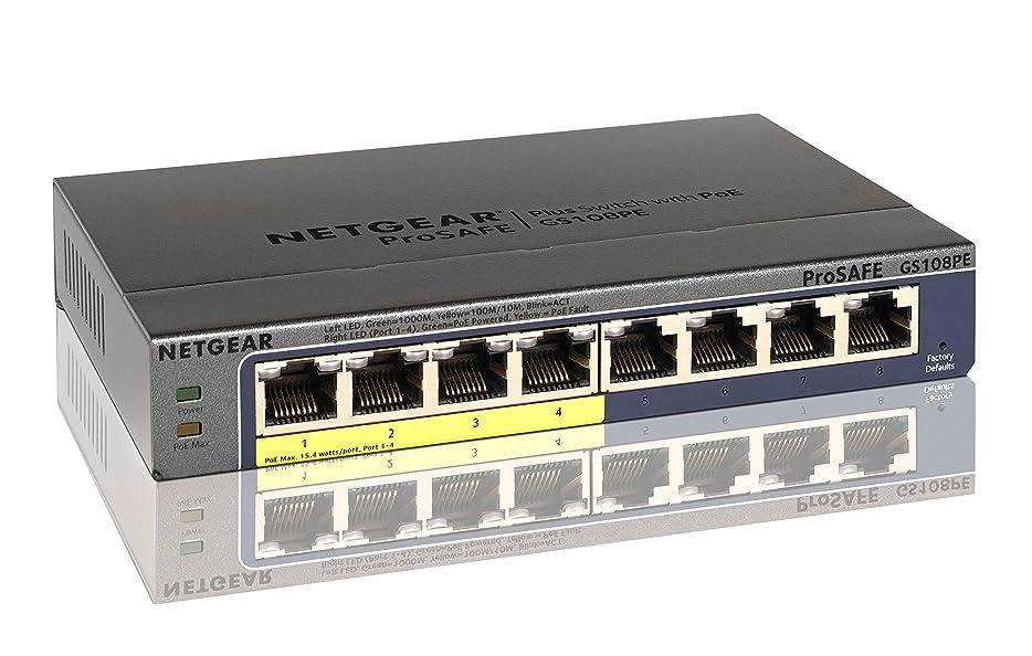 模倣広がり寄託NETGEAR スイッチングハブ ギガビット PoEスイッチ 8ポート(PoE4ポート15.4W/全体53W) 外部電源 ファンレス静音 日本語GUI 無償永久保証 GS108PE-300JPS
