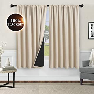 WONTEX 100% Thermal Blackout Curtains for Bedroom - Winter Insulating Rod Pocket Window Curtain Panels, Noise Reducing and Sun Blocking Lined Living Room Curtains, Beige, 52 x 45 inch, Set of 2