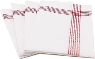 ZOLLNER 4 paños de Cocina de Lino 100%, 50x70 cm, Blancos