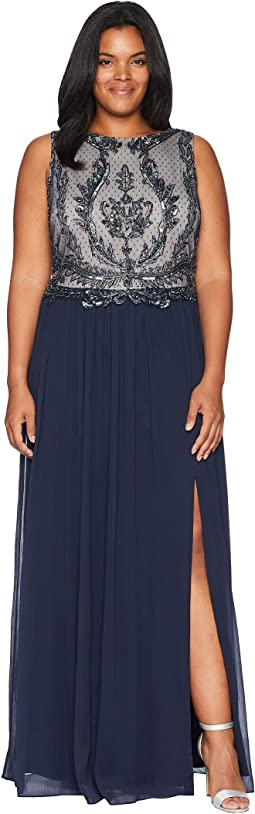 Plus Size Sleeveless Bead Bodice Gown